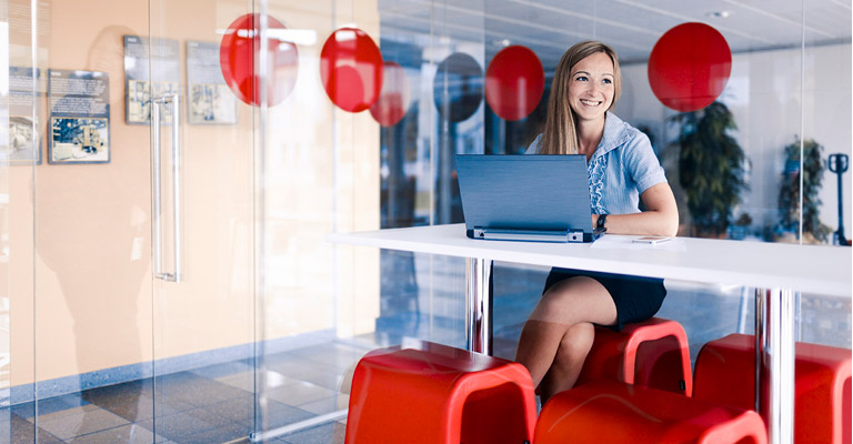 Woman in front of laptop